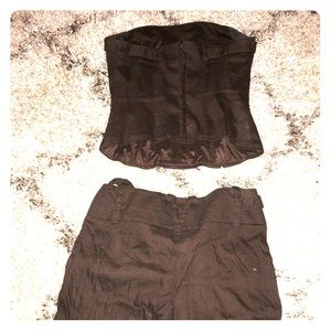 Bebe two piece; tube top and knee length shorts